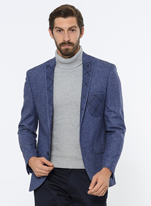 Comienzo Slim Fit Yün Blazer Ceket Mavi